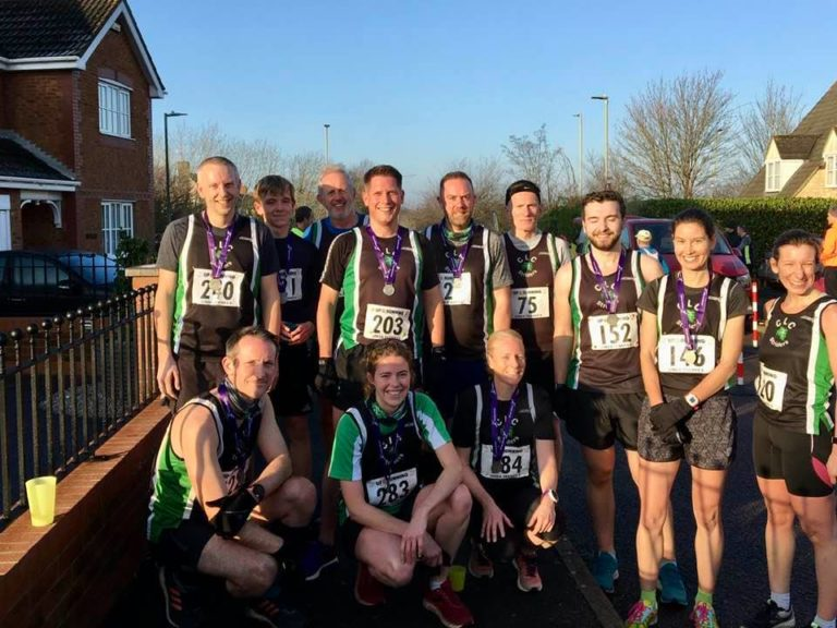 CLC atheletes at the Linda Franks 5-mile road race on January 19th 2020. Back row left to right: Gary Smith, Jacob Howes, Mike Speke, Hedley Philips, Matt Ashman, Andrew Gage, Nick Ledwold, Helen Knight, Helen Howes. Front rwo. Left to right: Jon Howes, Nicola Weager and Amelia Mullins